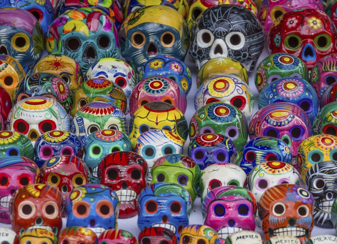 Mexican colorful skulls