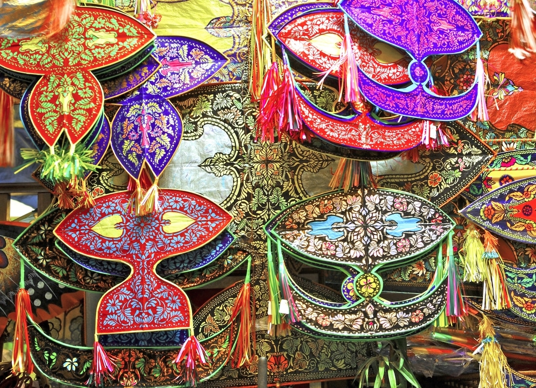 Malaysia, Kuala Lumpur: colorful asian paper kites; kites and kite fighting are very famous in this region of the world